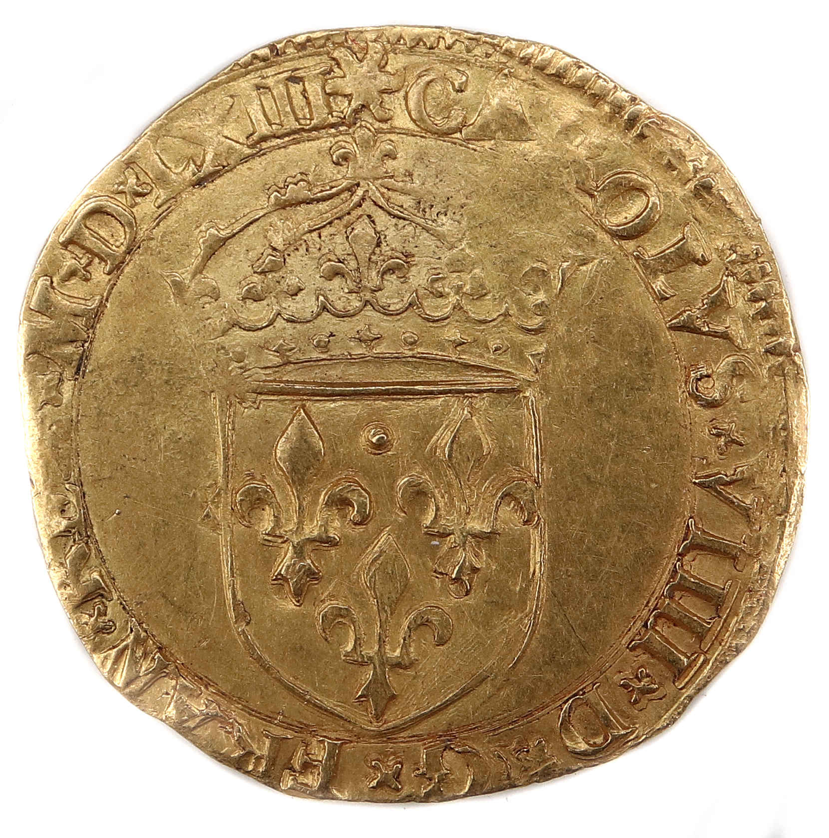 CHARLES IX ECU OR 1563 MONTPELLIER DROIT