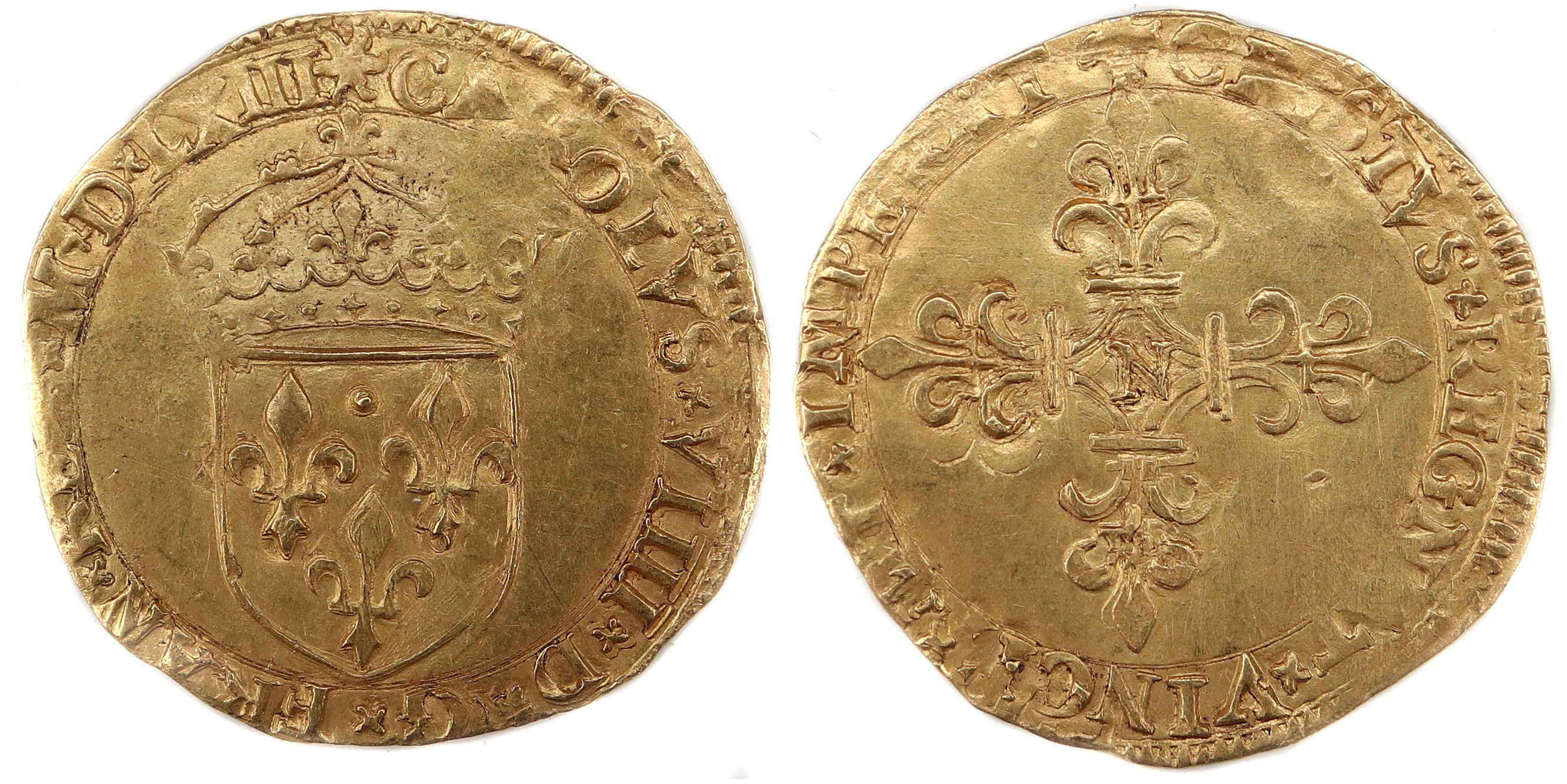 CHARLES 9 ECU OR 1563 MONTPELLIER