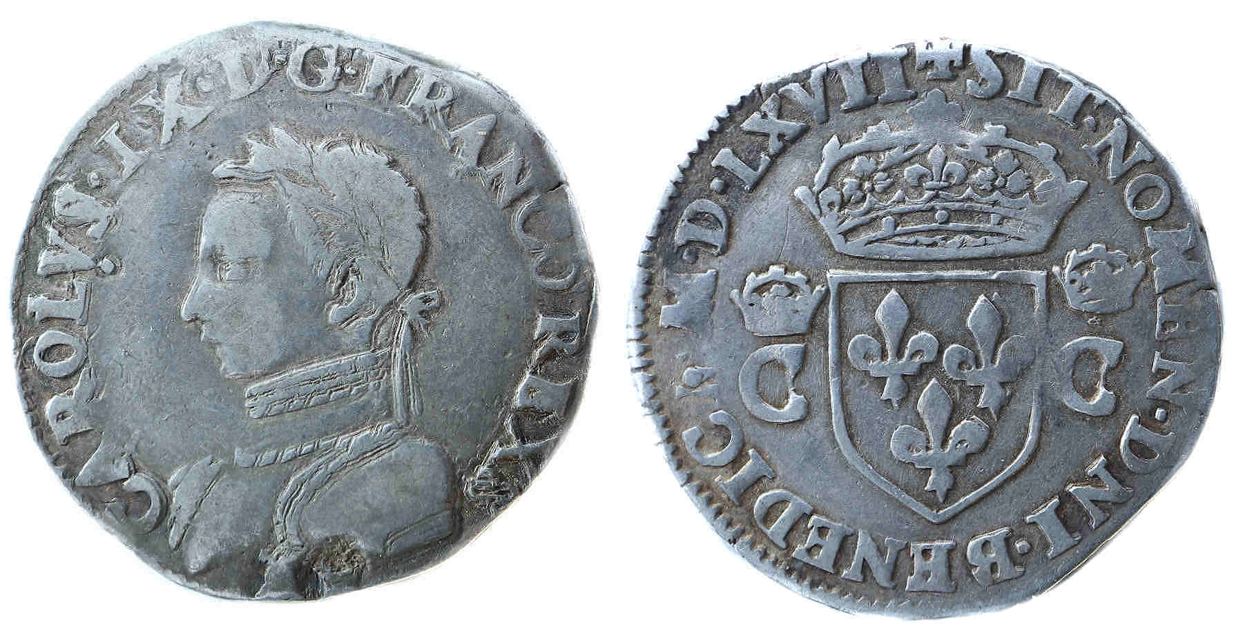 CHARLES IX DEMI TESTON 1567 TOURS