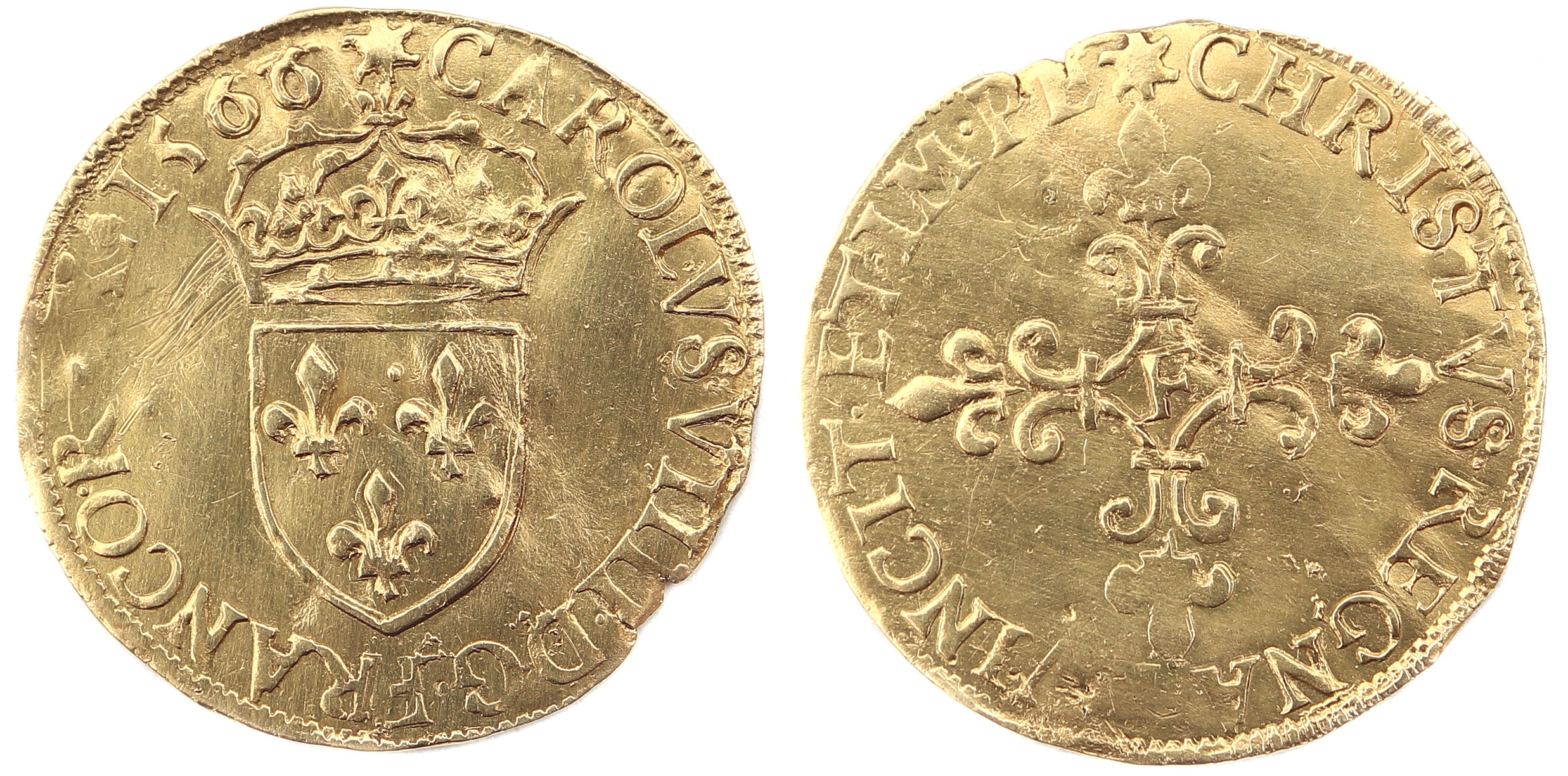 CHARLES IX ECU OR 1566 ANGERS