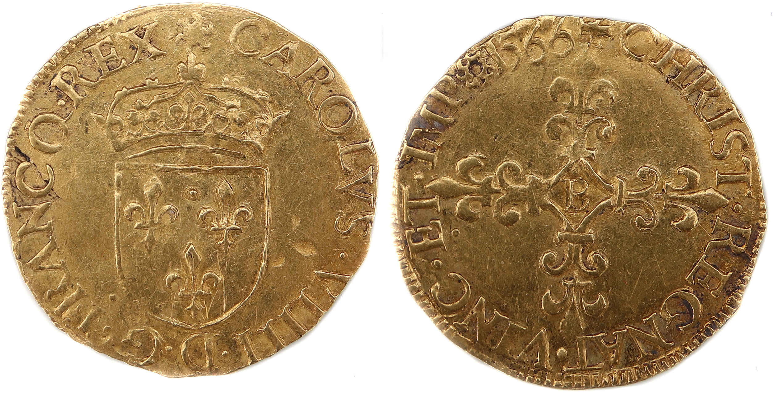 CHARLES IX ECU OR 1566 ROUEN