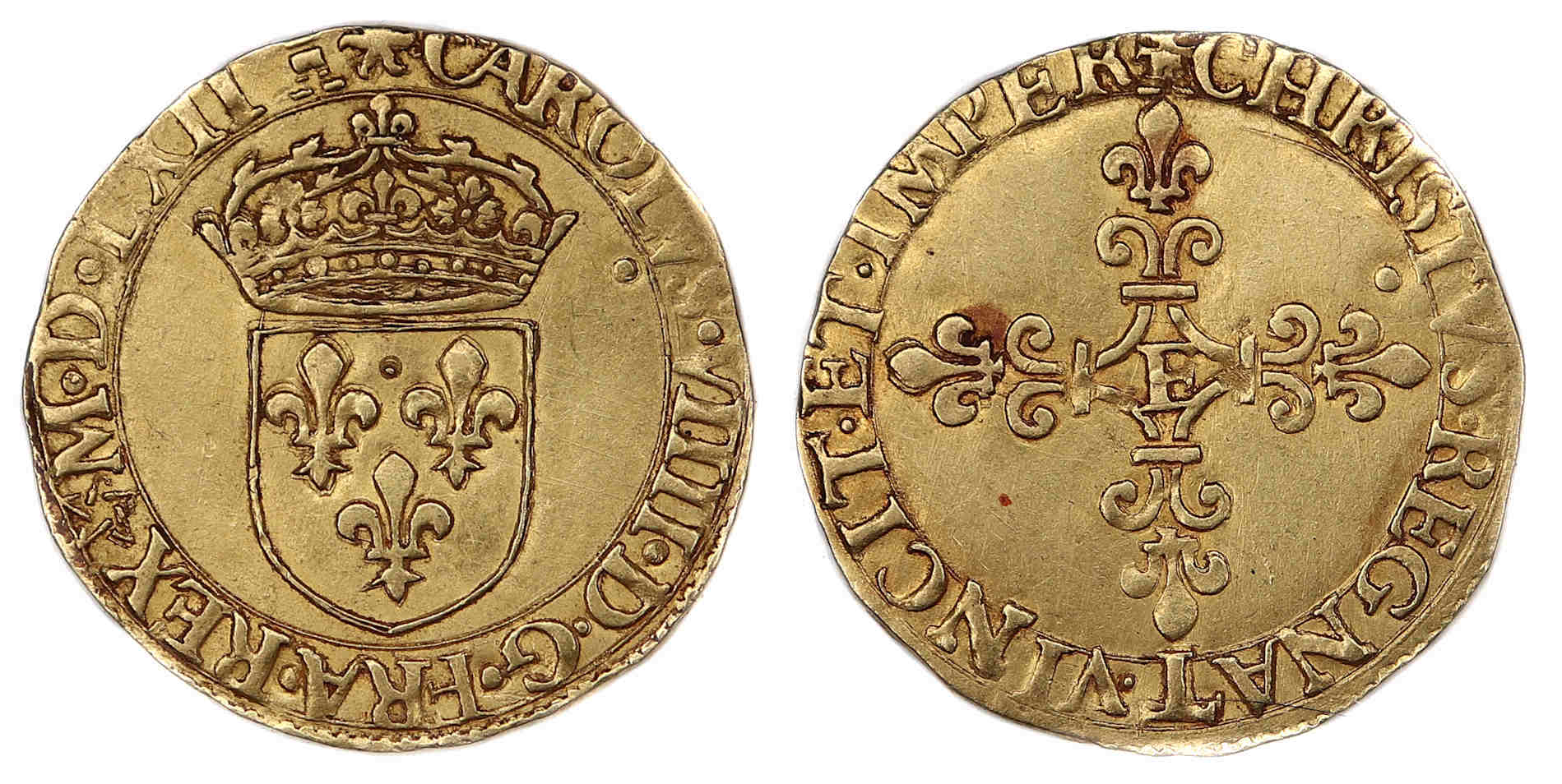 CHARLES IX ECU OR 1562 TOURS