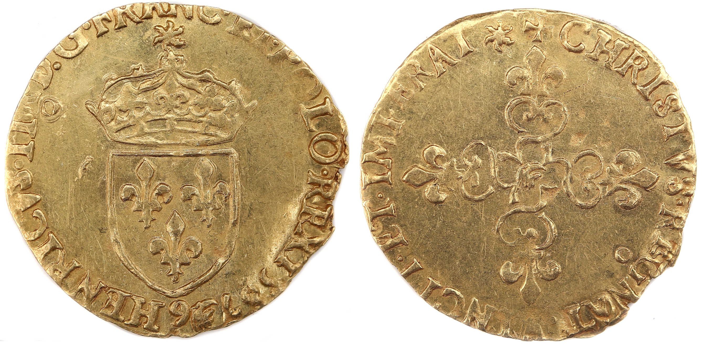 HENRI III ECU OR 1587 RENNES